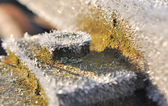 Frost on piece of metal — Stockfoto