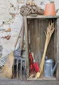 Rustic gardening tools — Stock Photo