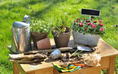Gardening table — Stock Photo