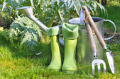 Tools and boots for gardening — Stock Photo
