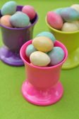Easter eggs in eggcups — Stock Photo