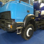 Wheels of blue truck — Stock Photo #10947255
