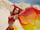 Eastern dancer with shawl — Stock Photo