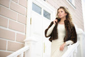 Girl on the stairs — Stock Photo