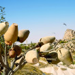 Stock Photo: Pottery tree in front of Uchisar Castle in Cappadocia, Turkey