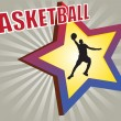 Stock Vector: Basketball star background