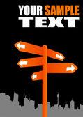 Signpost on city shape — Stock Vector