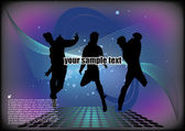 Dancing on abstract background — Stock Vector