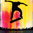 Skateboarder on abstract background   — Vektorgrafik