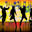 Dancing people on party background — Stock Vector