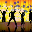 Stock Vector: Dancing people on party background