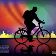 Biker on colorful city background   — Stock Vector