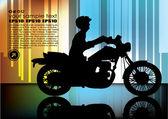 Motorrijder op abstracte achtergrond — Stockvector