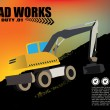Road works vehicle on grunge background   — Stock Vector