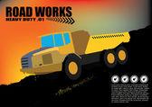 Vehículo de obras viales en segundo plano grunge — Vector de stock