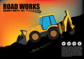 Road works vehicle on grunge background — ストックベクタ