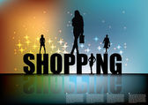 Shopping sign with women silhouettes — Stock vektor