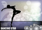 Dancer on magic background — Vector de stock