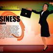 Businesswoman on modern background — Stock Vector