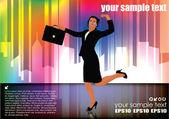 Affärskvinna på moderna bakgrund — Stockvektor