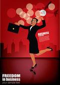 Femme d'affaires sur fond moderne — Vecteur