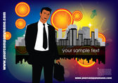 Business person on abstract city background — Stock Vector