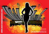женщина и город — Cтоковый вектор