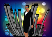 Woman and the city — Stock Vector