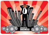 Pessoa de negócios sobre fundo de cidade abstrata — Vetorial Stock