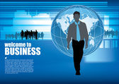 Business person on world background — Stock Vector