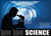Scientist with microscope on abstract background — Vector de stock
