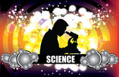 Silhouette of scientist — Stock Vector