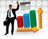 Businessman and graphics — Stock Vector