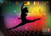 Silhouette der frau-tänzerin — Stockvektor