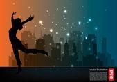Woman dancer silhouette — Stock Vector