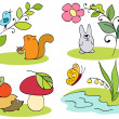 Little inhabitants of the forest - Stock Vector