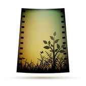 Negative film with landscare — 图库矢量图片