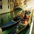Gondolas in Venice. Italian cities - Stock Photo