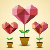Origami hearts — Stock Vector