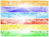 Banners con decoraciones florales y lightrays — Vector de stock