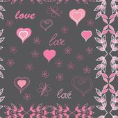 Heart and flower seamless pattern background — Stock Vector