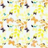 Abstract floral end butterfly seamless pattern background — Stock Vector