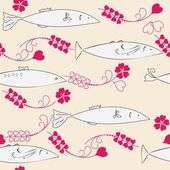 Abstract seamless background with fishes — Stock Vector