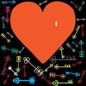 Llaves y corazón rojo — Vector de stock