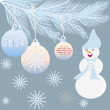 Vintage card with Christmas balls end snowman. — Stock Vector