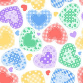 Patchwork hearts on the white. — Stock Vector