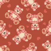 Seamless bear patchwork pattern. — Stock Vector