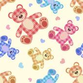 Seamless bear light patchwork pattern. — Stock Vector