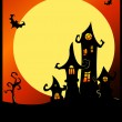 Terrible halloween castle. — Stock Vector