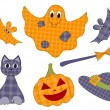 Halloween patchwork set — Stock Vector